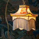 Pagoda lamp, kimono silk