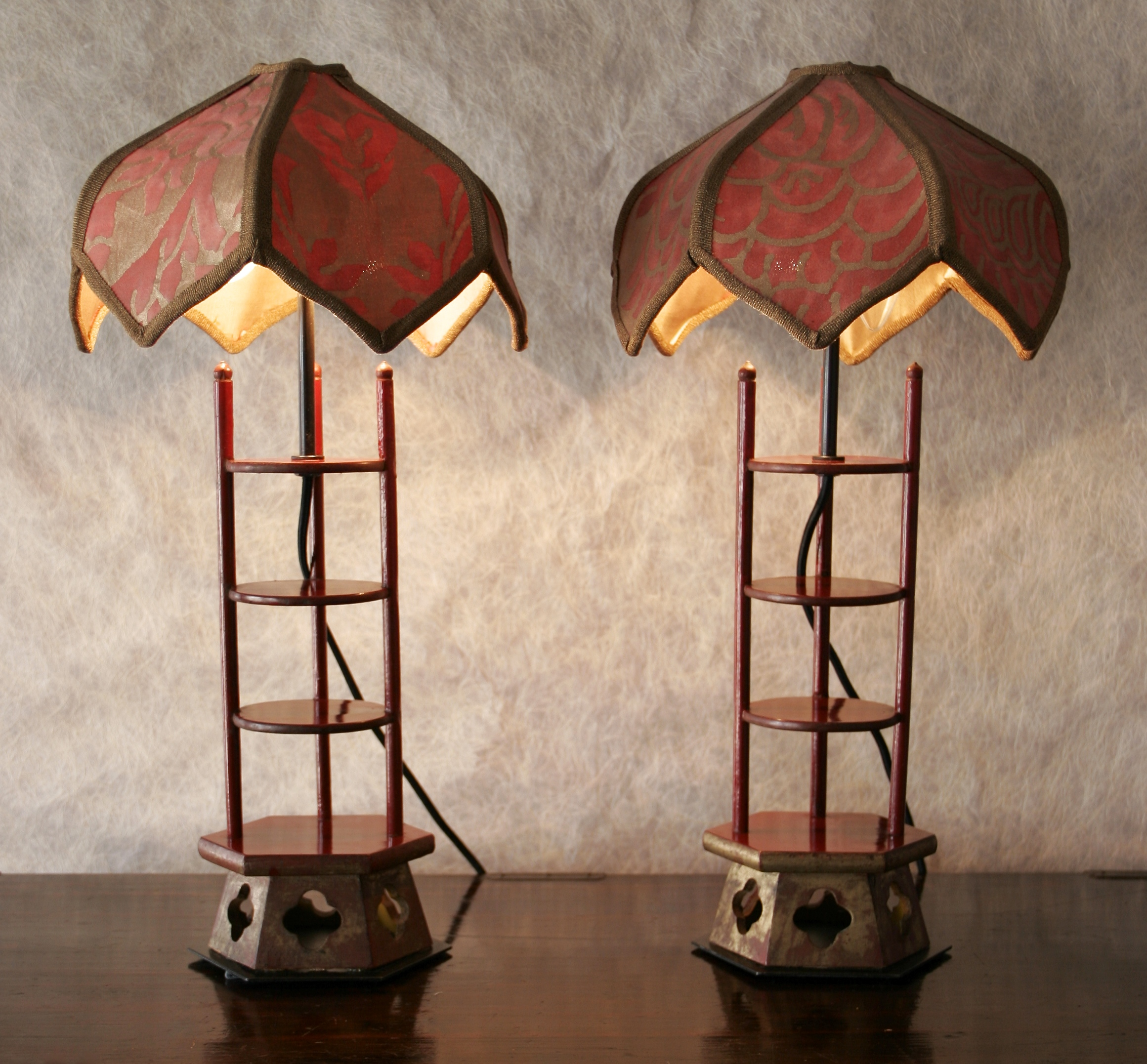 Pair of pagoda lamps with Fortuny shades *sold*